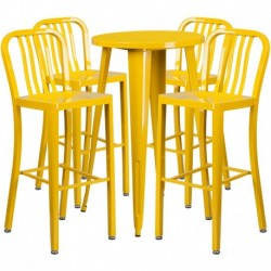 MFO 24'' Round Yellow Metal Indoor-Outdoor Bar Table Set with 4 Vertical Slat Back Stools