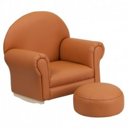 MFO Kids Brown Vinyl Rocker Chair and Footrest