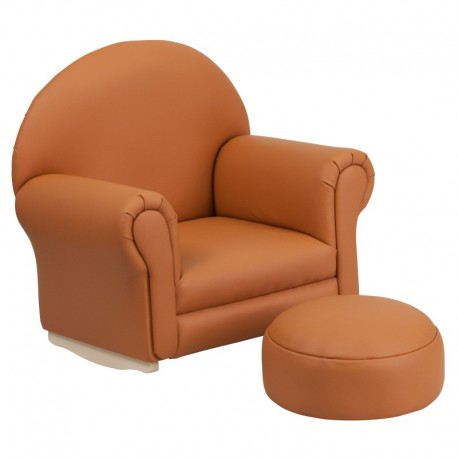 MFO Kids Brown Vinyl Rocker Chair and Footrest