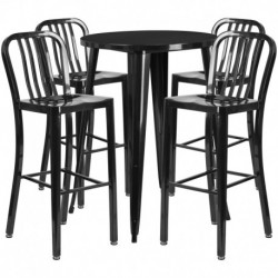 MFO 30'' Round Black Metal Indoor-Outdoor Bar Table Set with 4 Vertical Slat Back Stools