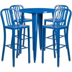 MFO 30'' Round Blue Metal Indoor-Outdoor Bar Table Set with 4 Vertical Slat Back Stools
