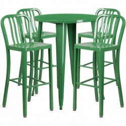 MFO 30'' Round Green Metal Indoor-Outdoor Bar Table Set with 4 Vertical Slat Back Stools