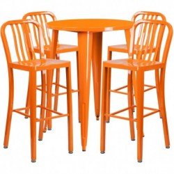 MFO 30'' Round Orange Metal Indoor-Outdoor Bar Table Set with 4 Vertical Slat Back Stools