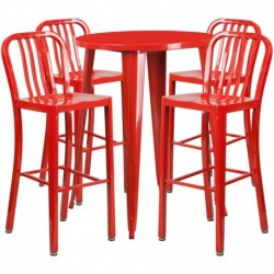 MFO 30'' Round Red Metal Indoor-Outdoor Bar Table Set with 4 Vertical Slat Back Stools