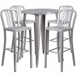 MFO 30'' Round Silver Metal Indoor-Outdoor Bar Table Set with 4 Vertical Slat Back Stools