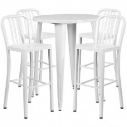 MFO 30'' Round White Metal Indoor-Outdoor Bar Table Set with 4 Vertical Slat Back Stools