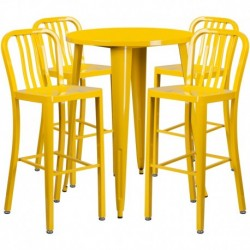 MFO 30'' Round Yellow Metal Indoor-Outdoor Bar Table Set with 4 Vertical Slat Back Stools
