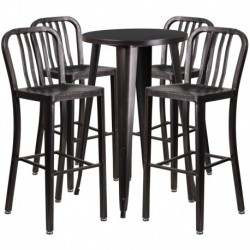 MFO 24'' Round Black-Antique Gold Metal Indoor-Outdoor Bar Table Set with 4 Vertical Slat Back Stools