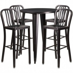 MFO 30'' Round Black-Antique Gold Metal Indoor-Outdoor Bar Table Set with 4 Vertical Slat Back Stools
